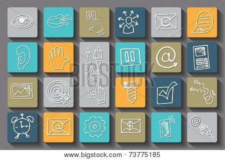 Doodle business seo long shadow icons .Outline sketch
