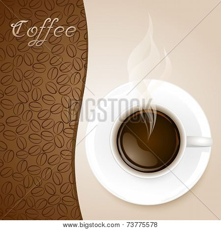 Cup Of Coffee On Paper Background