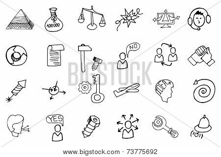 Doodle business seo icons.Outline sketches