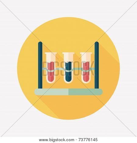 Test Tube Flat Icon With Long Shadow