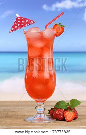Fruity Strawberry Fruit Cocktail Juice Drink On The Beach