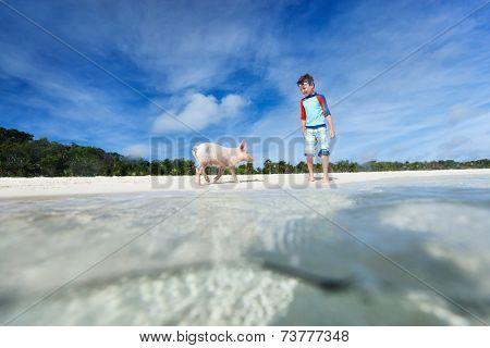 Boy with little piglet at Exuma beach, Bahamas