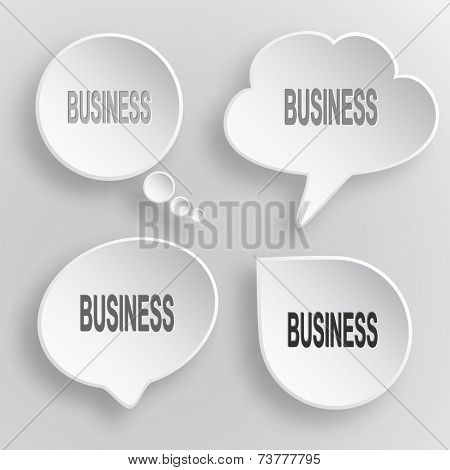 Business. White flat raster buttons on gray background.