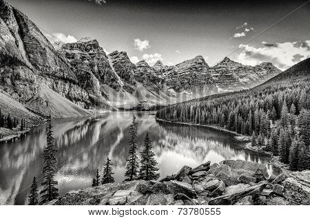 Monochrome Filtered Scenic View Of Moraine Lake, Rocky Mountains, Canada