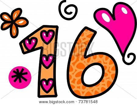 Number Sixteen Doodle Text