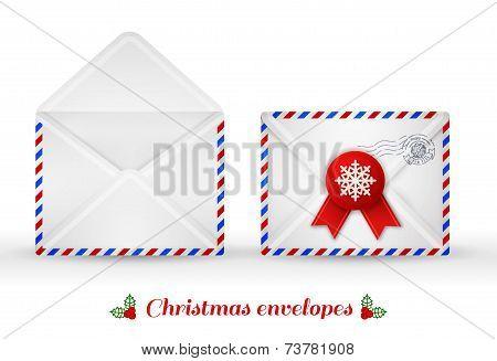 Set of Christmas envelopes. Vector illustration.