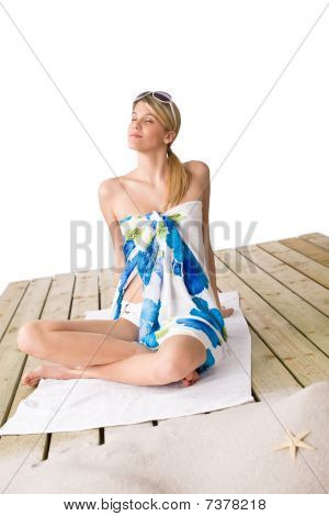 Beach - Woman Sunbathing With Pareo And Sunglasses