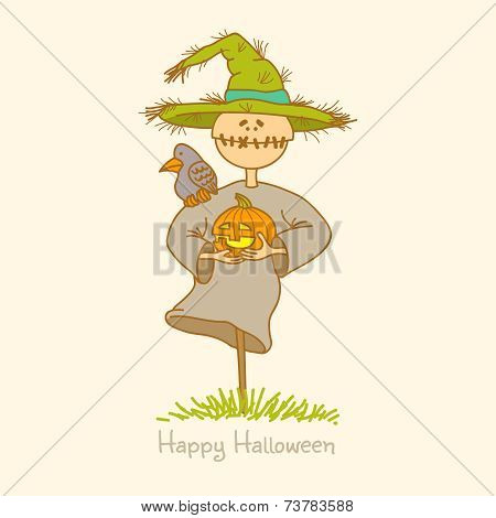 Vector illustration of a scarecrow with pumpkin