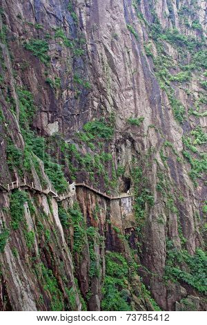 Hazardous Pathway Over The Precipice In Huang Shan, China, Oil Paint Stylization