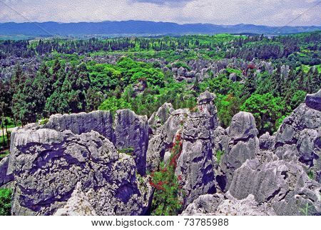 Shilin - Stone Forest - Near Kunming In Yunnan Province, China, Oil Paint Stylization