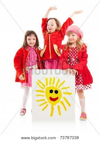 Little Girls And White Billboard Of Children's Drawing Of Sun??????? ?????????:.