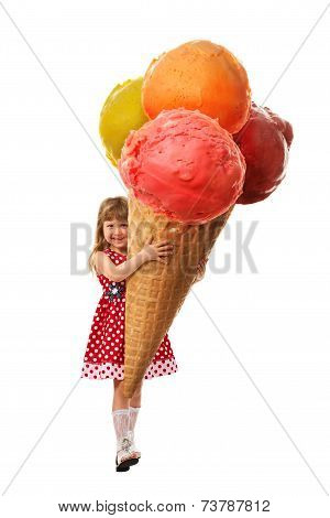 Little Girl And Greatest Ice Cream