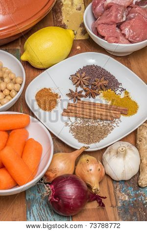 Ingredients For A Moroccan Dish With Lamb