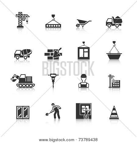 Construction Black Icons Set