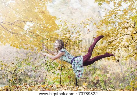 Levitation portrait of young woman