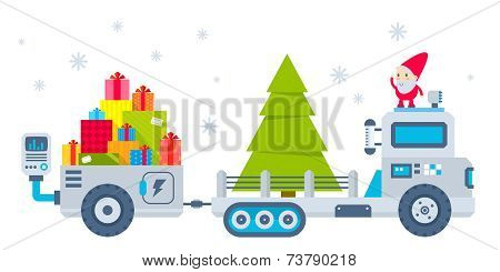 Vector Horizontal Illustration Of The Gnome Operates The Machine, Which Carries A Christmas Tree And