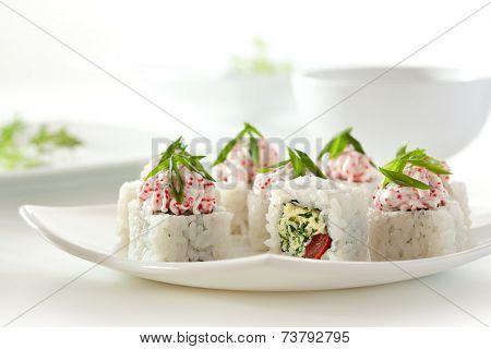Maki Sushi - Roll with Cheese, Leek and Tobiko