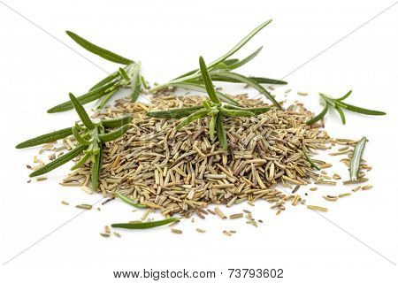 Rosemary, fresh and dried, isolated on white background.