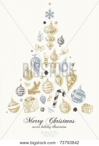 Graphic Hand Drawn Christmas Tree Made of Xmas icons and Elements, vector