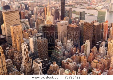 overhead view of manhattan skyline at sunset, NYC