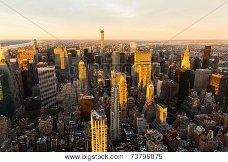NYC skyline at sunset, USA
