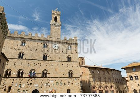 Historic buildings on the Square - Piazza dei Priori, Volterra Tuscany Italy