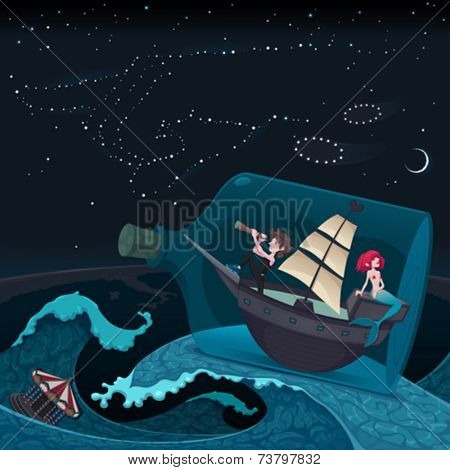 Travel in the night. Vector cartoon illustration