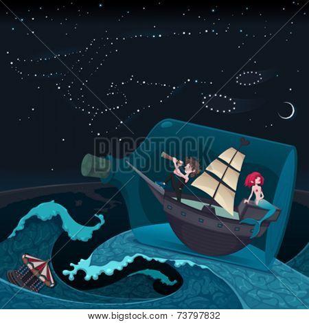 Travel in the night. Vector cartoon illustration