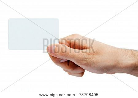 Hand Holding Retail Or Credit Card. Isolated On White