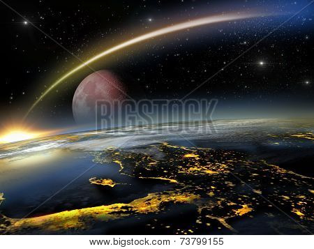 Red moon and asteroid hitting Earth