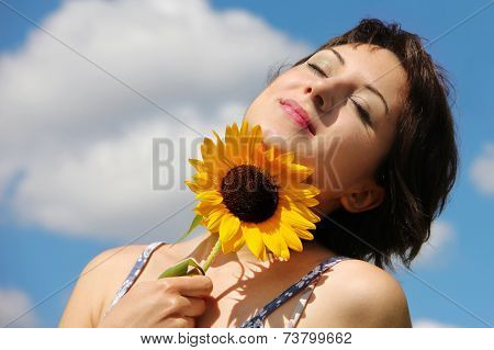 Happy woman looking peaceful