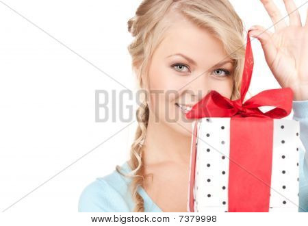 Happy Girl With Gift Box