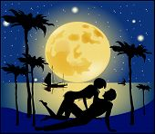 picture of moon silhouette  - Silhouette of lovers on a background of the full moon - JPG
