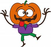 image of bulge  - Cool scarecrow with a big orange pumpkin as head - JPG