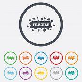foto of fragile sign  - Fragile parcel sign icon - JPG
