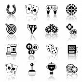stock photo of horseshoe  - Casino smart and video games black and white icons set with horseshoe chess chips isolated vector illustration - JPG