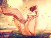 image of blowing  - Beauty Autumn Woman - JPG