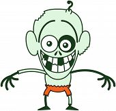 stock photo of bulge  - Funny bald zombie with bulging eyes - JPG