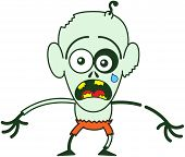stock photo of bulge  - Cute bald zombie with bulging eyes - JPG