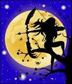 picture of moon silhouette  - Silhouette of an angel with a bow on a background of the moon - JPG
