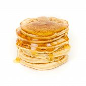 picture of maple syrup  - pancakes with maple syrup isolated on white - JPG