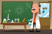 stock photo of professor  - A vector illustration of chemistry professor working at the lab - JPG