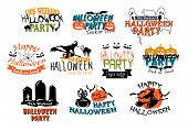picture of ghoul  - Set of vector Halloween party and Happy Halloween designs with various texts decorated with black cats - JPG