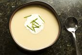 foto of leek  - Vichyssoise leek and potato creamy soup garnished with chives - JPG