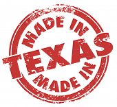 image of texans  - Made in Texas words in a round red stamp to show pride in products produced in TX state - JPG