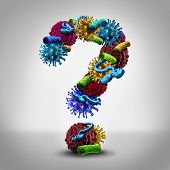 picture of immune  - Disease questions medical concept as a group of cancer bacteria cells and ebola virus shaped as a question mark as a health care symbol of pathology solutions and information on treating human infections through medicine or the immune system - JPG