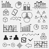picture of sketch  - Hand drawn business doodle sketches elements Concept infographic finance analytics learnings progress - JPG
