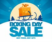 stock photo of sled  - Boxing day sale design with gift box on a sled - JPG