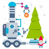stock photo of gnome  - Vector illustration of the gnome operates the machine that carry ball to Christmas tree - JPG