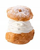 stock photo of cream puff  - Deluxe Cream Puff isolated on a white background - JPG